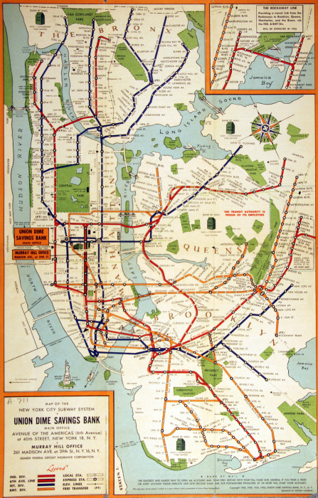 New York Subway Map Brooklyn.Map Of The New York City Subway System 1955 Teacharchives Org