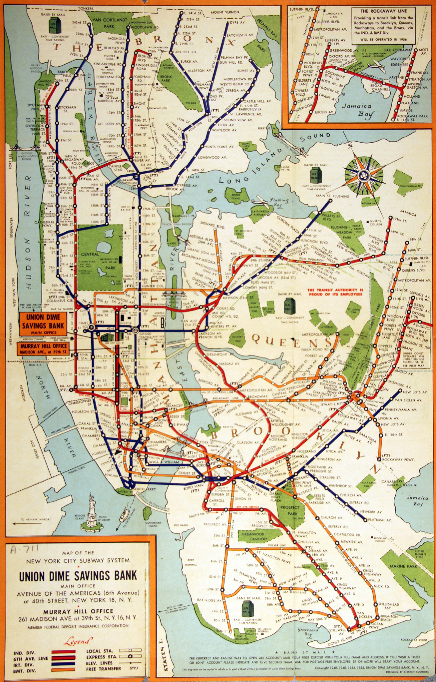 1900 Subway Map New York City.Map Of The New York City Subway System 1955 Teacharchives Org